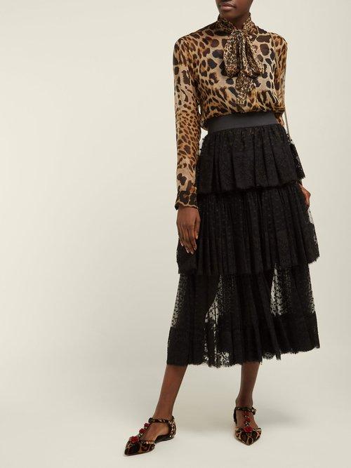 Photo of Embellished Leopard Print Velvet Flats by Dolce & Gabbana - shop Dolce & Gabbana footwear online sales