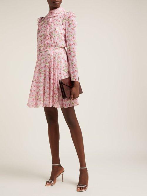 Peony Print Ruffled Silk Mini Dress by Giambattista Valli