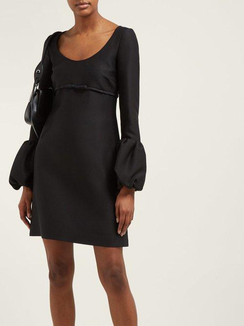 Scoop Neck Bubble Cuff Crepe Mini Dress by Giambattista Valli