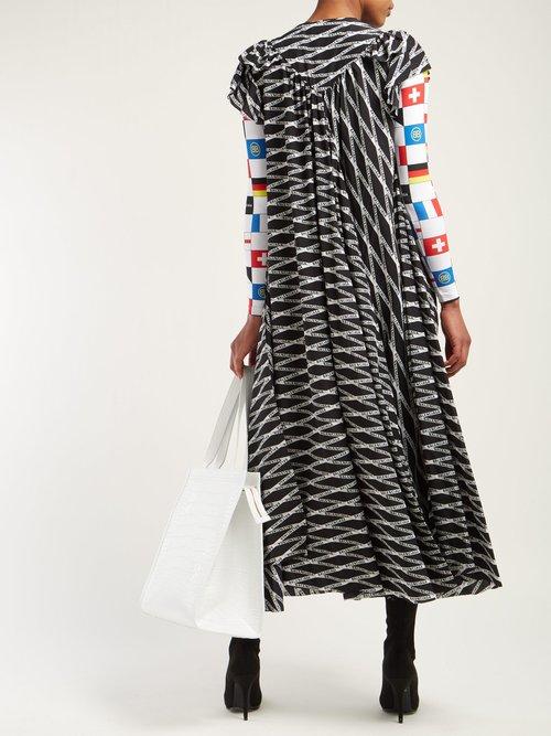 Flou Logo Print Silk Crepe Midi Dress by Balenciaga