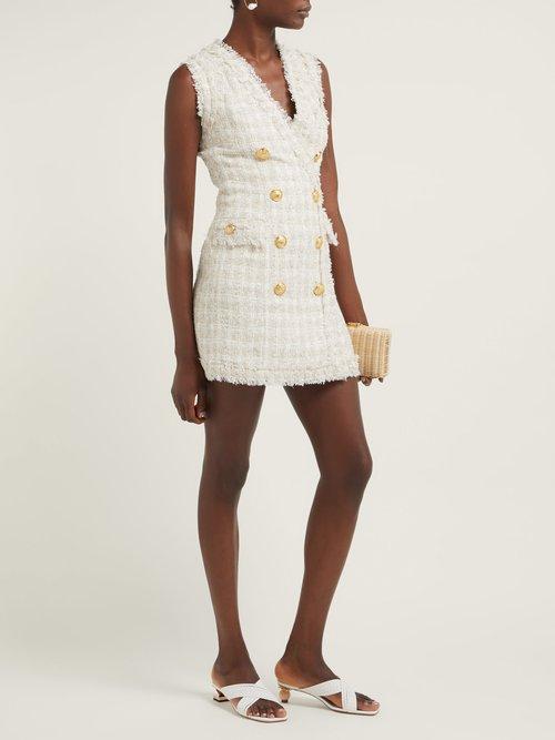 Tweed Frayed Edge Mini Dress by Balmain