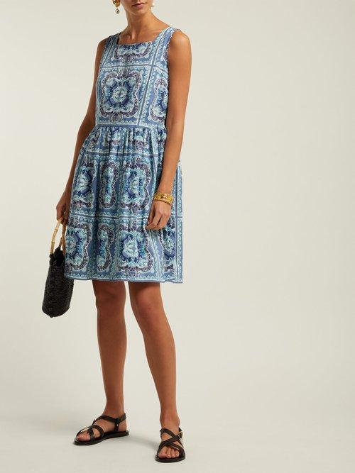Audrie Aretusa Print Cotton Mini Dress by Le Sirenuse, Positano