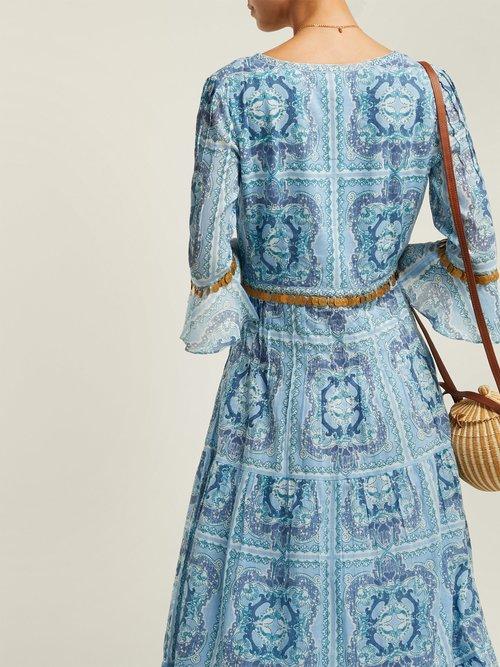Bella Aretusa Print Cotton Midi Dress by Le Sirenuse, Positano