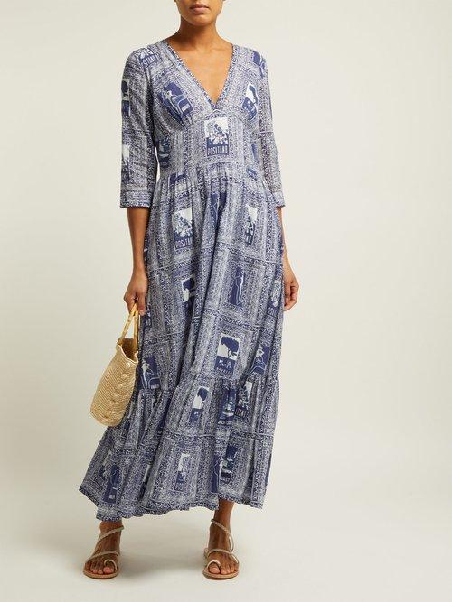 Stella Postcard Print Cotton Voile Midi Dress by Le Sirenuse, Positano
