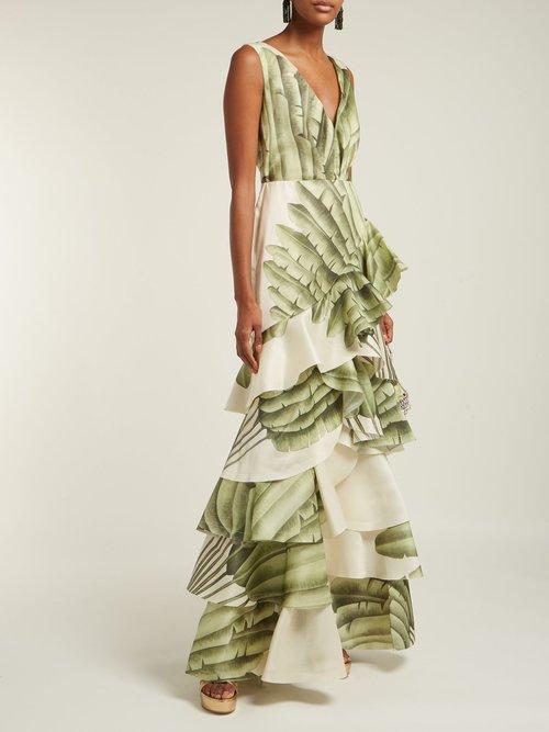 Coconut Palm Leaf Print Silk Organza Gown by Johanna Ortiz