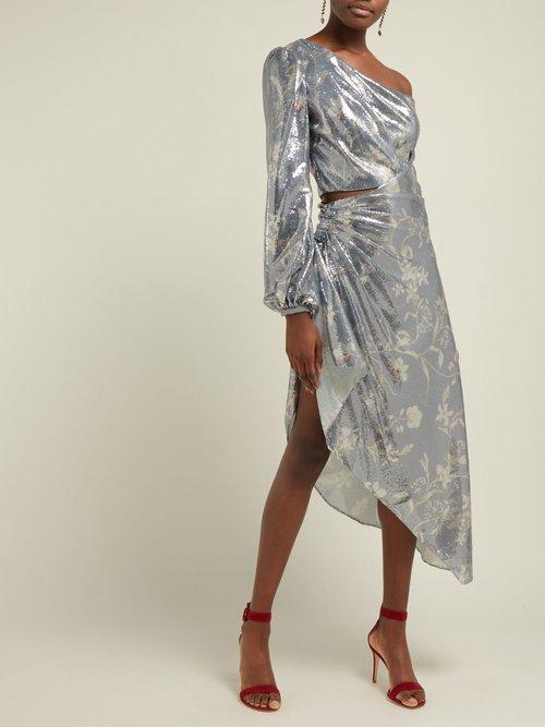 Glassy Orchid Sequinned Asymmetric Dress by Johanna Ortiz