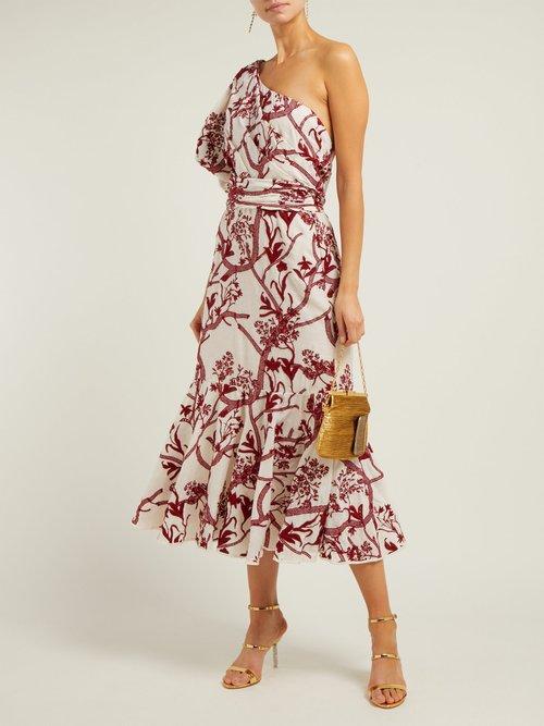 Perfume De Gardenias Embroidered Cotton Midi Dress by Johanna Ortiz