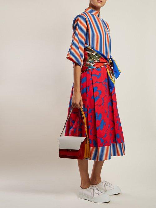 Stripe And Floral Print Cotton Poplin Midi Dress by Marni