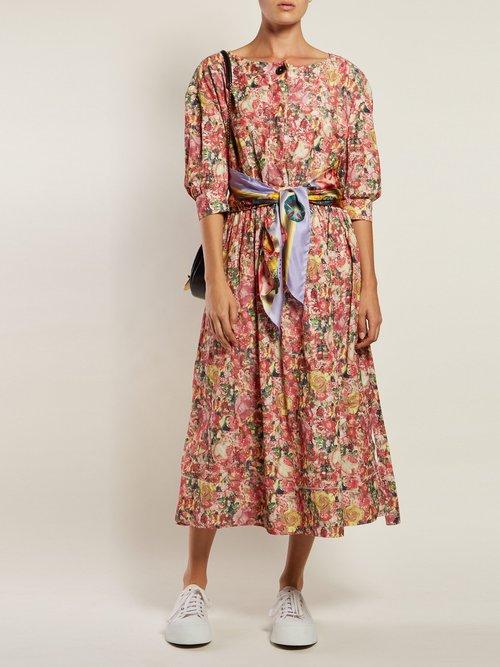 Scarf Belt Floral Print Crepe Dress by Marni