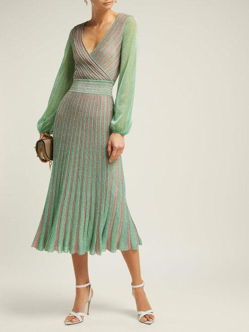 Metallic Striped Wrap Dress by Missoni