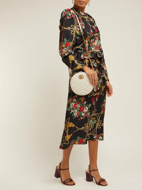 Intrigue Floral Print Silk Twill Midi Dress by Gucci
