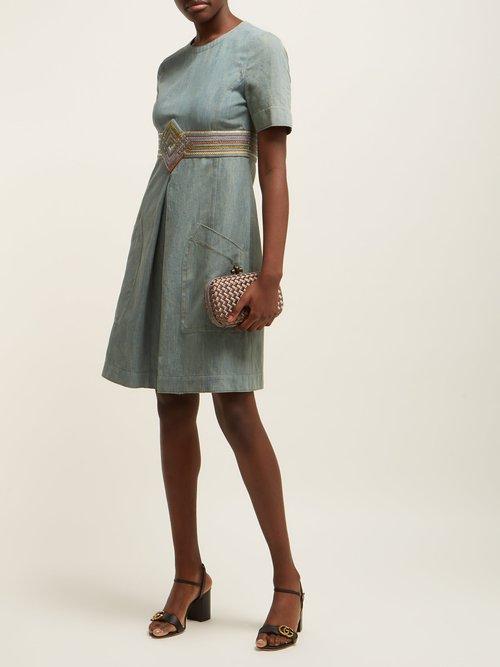 Contrast Panel Denim Dress by Bottega Veneta