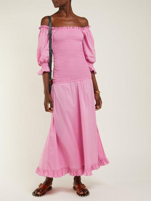 Eva Off The Shoulder Smocked Cotton Dress by Rhode Resort