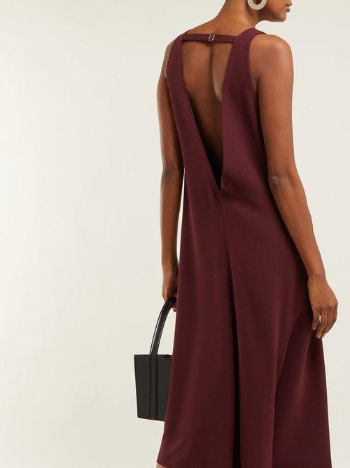 Asymmetric V Neck Midi Dress by Tibi