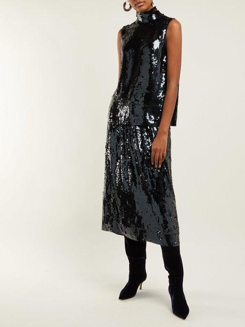 Sequinned Silk Sleeveless Top by Tibi
