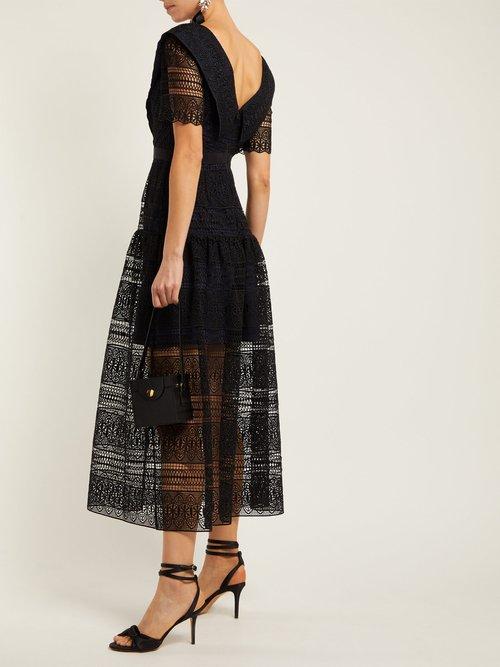 Spiral Lace Midi Dress by Self-portrait