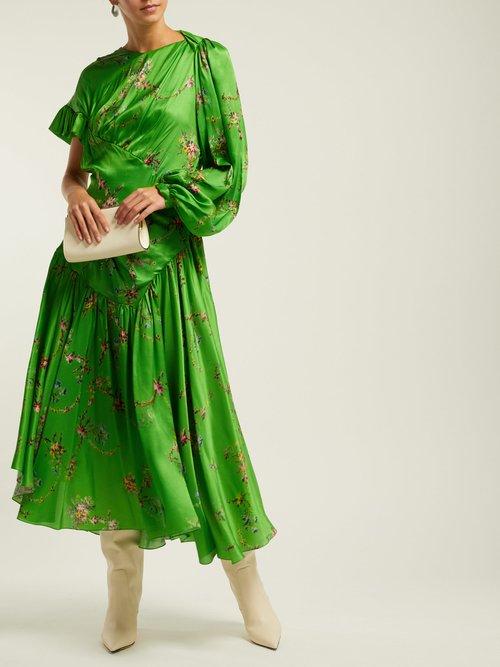 Geri Floral Print Asymmetric Satin Dress by Preen By Thornton Bregazzi