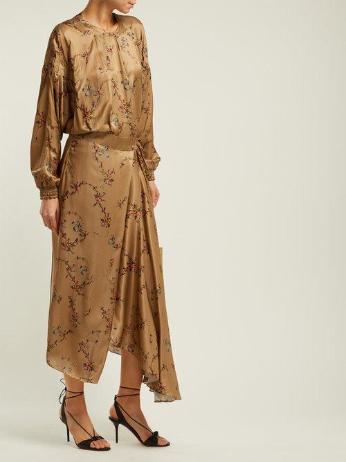 Angel Floral Print Asymmetric Satin Midi Dress by Preen By Thornton Bregazzi