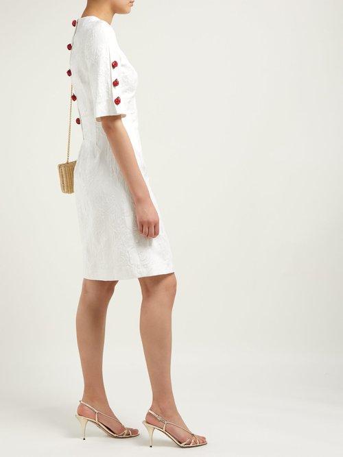 Floral Jacquard Rose Charm Mini Dress by Dolce & Gabbana