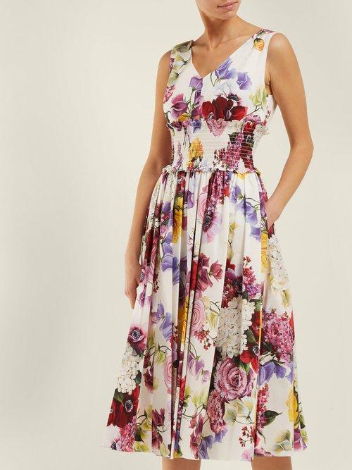 Rose And Hydrangea Print Cotton Poplin Midi Dress by Dolce & Gabbana