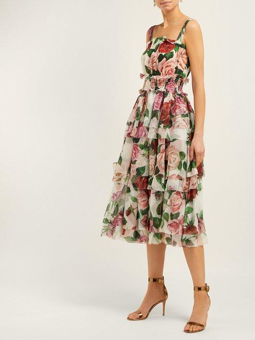 Rose Print Tiered Silk Chiffon Midi Dress by Dolce & Gabbana