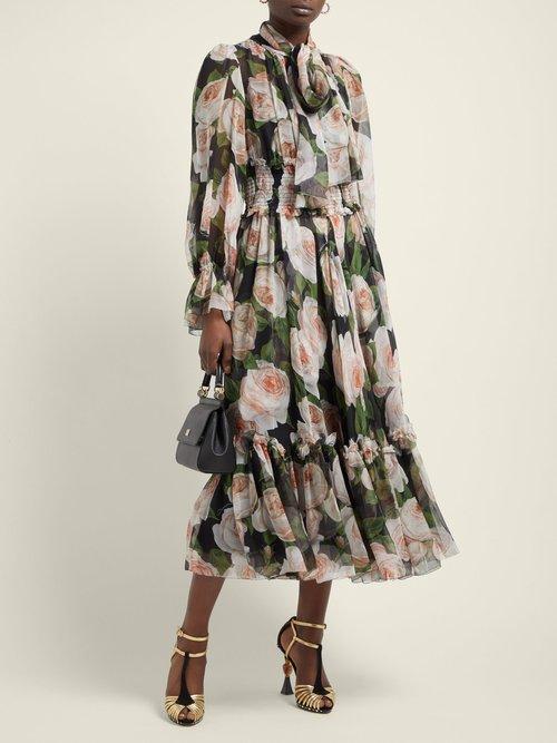 Floral Print Tie Neck Silk Chiffon Dress by Dolce & Gabbana