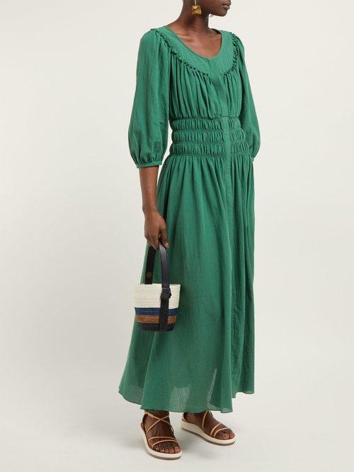 Arabella Shirred Cotton Voile Midi Dress by Three Graces London