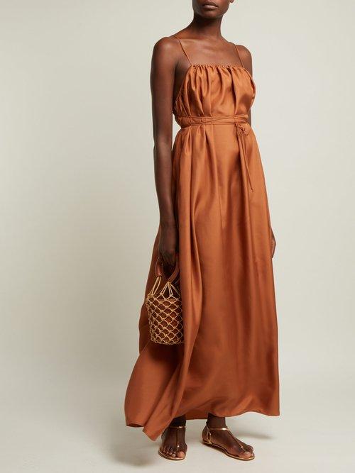 Gwendoline Gathered Silk Maxi Dress by Three Graces London