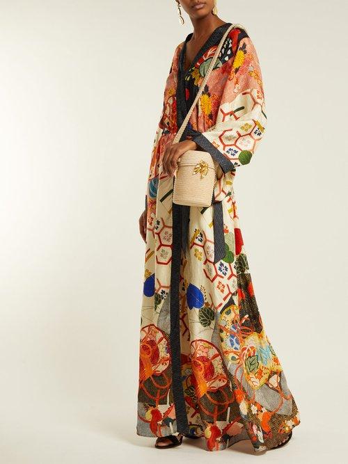 Floral Print Silk Satin Kimono Wrap Dress by Camilla