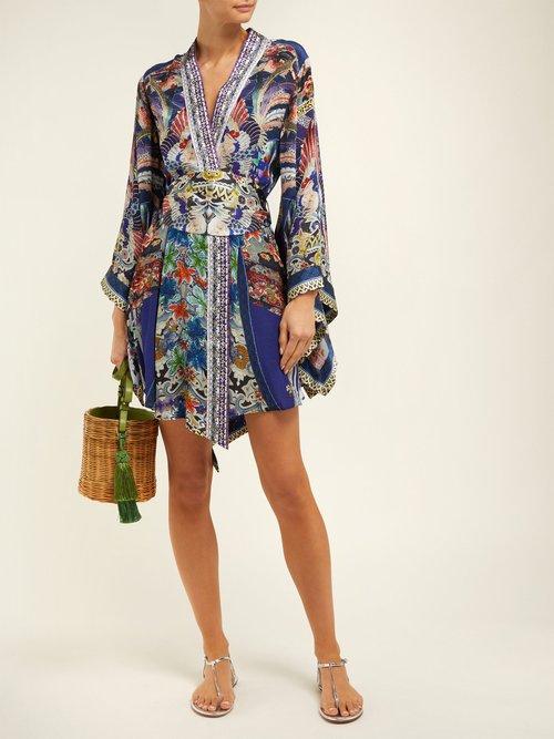 Playing Koi Print Silk Kimono Wrap Dress by Camilla