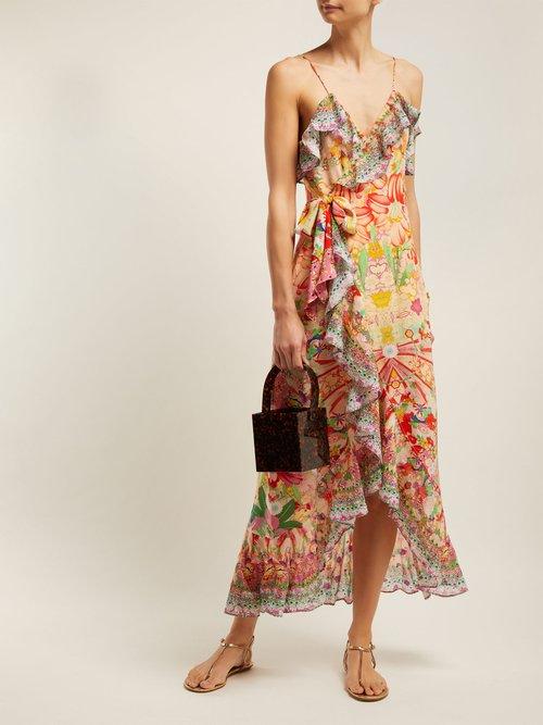 Kimono Kisses Print Silk Midi Dress by Camilla