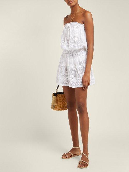 Fru Strapless Crochet Knit Mini Dress by Melissa Odabash