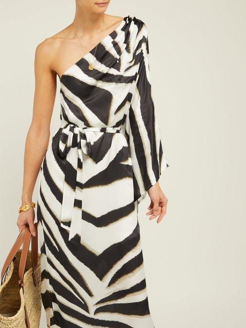 Lauren Asymmetric Zebra Striped Crepe Maxi Dress by Melissa Odabash