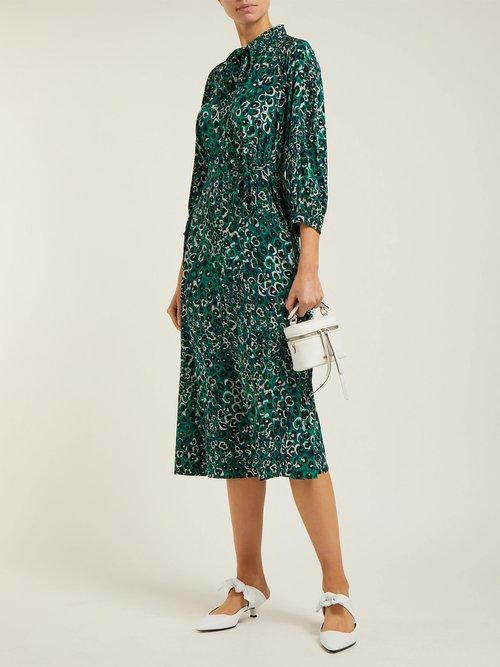 Photo of Camouflage Print Silk Crepe De Chine Midi Dress by Cefinn - shop Cefinn dresses online sales