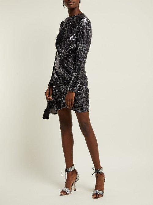 Sequinned Leopard Print Mini Dress by MSGM