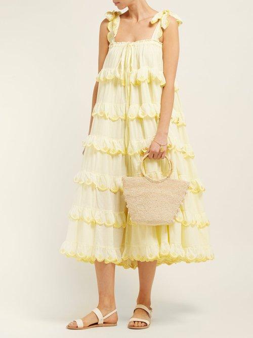 Iva Biigdres Tiered Cotton Midi Dress by Innika Choo
