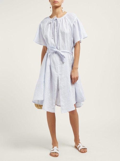 Geometric Embroidered Smocked Linen Midi Dress by Innika Choo