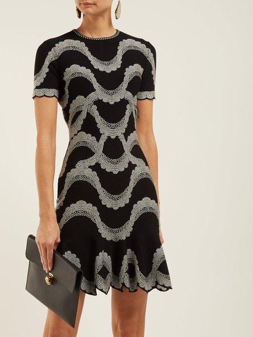Wave Jacquard Scalloped Hem Dress by Alexander Mcqueen