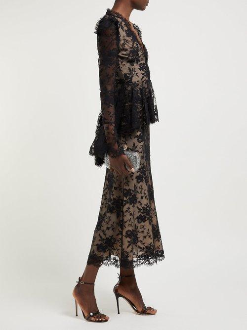 Sarabande Lace V Neck Peplum Dress by Alexander Mcqueen