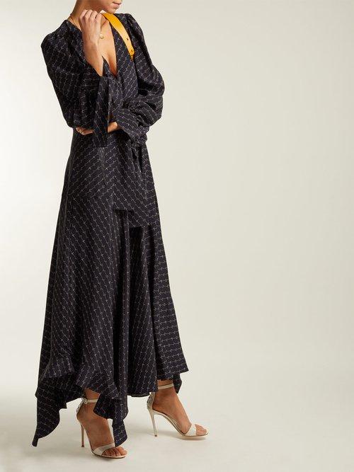 Logo Printed Asymmetric Silk Midi Dress by Stella McCartney