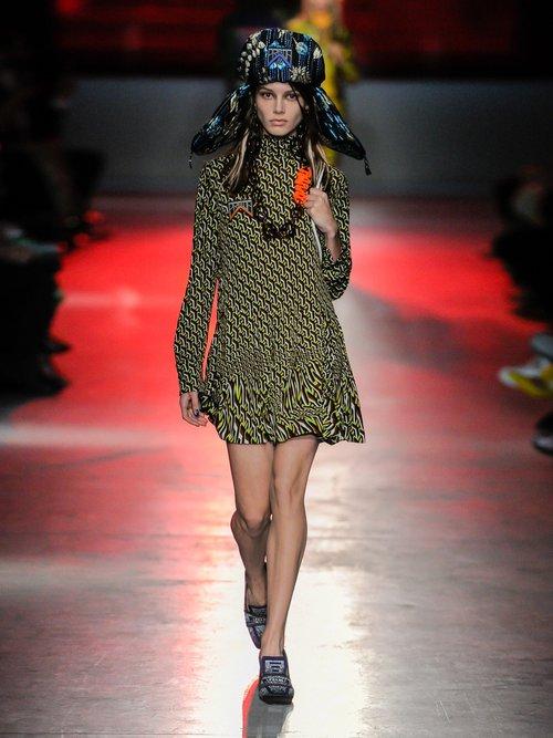 Roll Neck Geometric Print Mini Dress by Prada