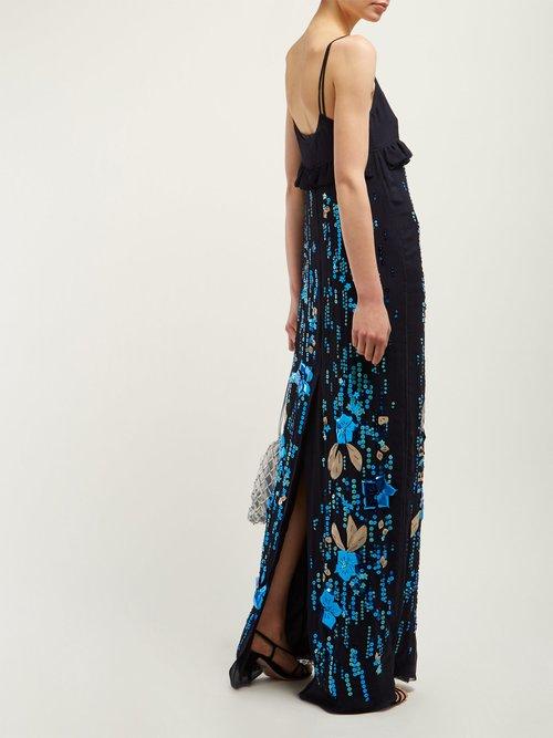 Sequinned Silk Chiffon Gown by Prada
