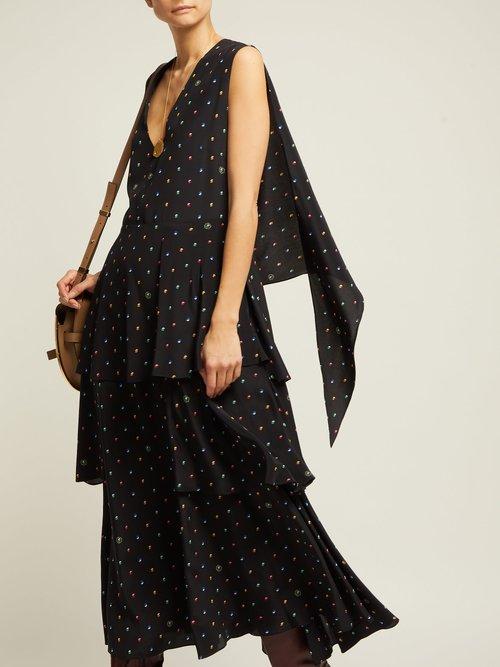 Dot Print Tiered Silk Dress by Stella Mccartney