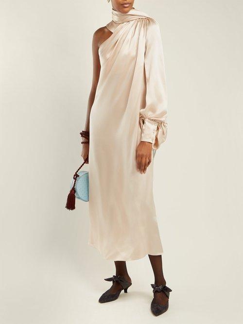 Draped Silk Satin One Shoulder Dress by Hillier Bartley