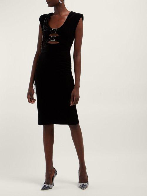 Crystal Embellished Buckle Velvet Midi Dress by Christopher Kane