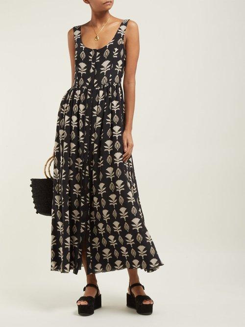 Quiet Love Floral Print Silk Midi Dress by Athena Procopiou