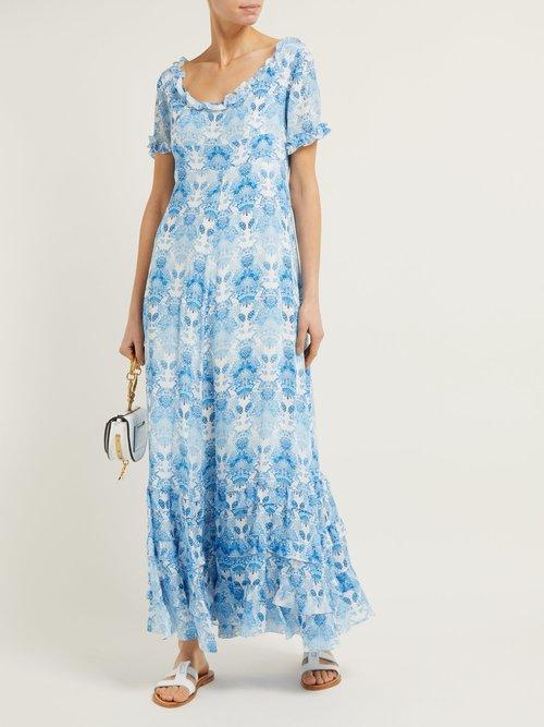 Kalua Floral Print Silk Dress by Athena Procopiou