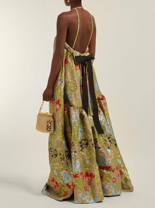 Halterneck Floral Brocade Gown by Rochas