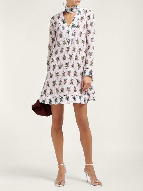 Camomile Floral Print Crepe Mini Dress by Emilia Wickstead