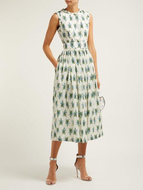 Maidy Floral Print Rubberised Midi Dress by Emilia Wickstead